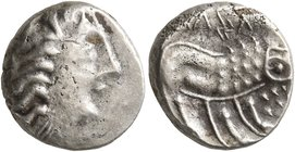 CELTIC, Southern Gaul. Insubres. 2nd century BC. Tetrobol (Silver, 12 mm, 2.08 g, 2 h), imitating Massalia. Female head to right, wearing triple-penda...