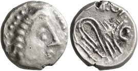 CELTIC, Southern Gaul. Insubres. 2nd century BC. Tetrobol (Silver, 12 mm, 2.08 g, 12 h), imitating Massalia. Female head to right, wearing triple-pend...