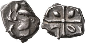 CELTIC, Southern Gaul. Volcae-Tectosages. 2nd century BC. Drachm (Silver, 15 mm, 3.43 g), 'à la croix' type. Celticized male head to left; before, two...