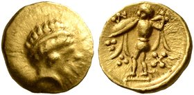 CELTIC, Central Europe. Boii. 2nd century BC. 1/24 Stater (Gold, 7 mm, 0.35 g, 12 h), early Athena-Alkis-series. Laureate head of Apollo (?) to right....