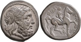 CELTIC, Lower Danube. Uncertain tribe. Circa 300-250 BC. Tetradrachm (Silver, 26 mm, 13.87 g, 10 h), imitating an issue of Philip II of Macedon from A...