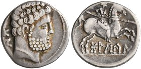 SPAIN. Bolskan. Circa 150-100 BC. Denarius (Silver, 17 mm, 3.59 g, 1 h). Bearded bare male head to right; behind, 'bon' in Iberian. Rev. Warrior on ho...