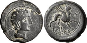 SPAIN. Castulo. Mid 2nd century BC. AE (Bronze, 31 mm, 21.40 g, 12 h). Diademed male head to right. Rev. Sphinx advancing right; before, star. ACIP 21...