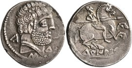 SPAIN. Turiasu. Circa 150-100 BC. Denarius (Silver, 19 mm, 4.00 g, 2 h). Bearded bare male head to right; around, 'ka-s-tu' in Iberian. Rev. Warrior o...