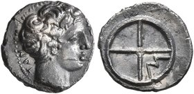 GAUL. Massalia. Circa 410-380 BC. Obol (Silver, 10 mm, 0.59 g). MAΣΣAΛIΩ-TAN Bare head of Apollo to right. Rev. Wheel of four spokes; M in one quarter...