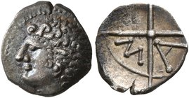 GAUL. Massalia. Circa 200-150 BC. Obol (Silver, 10 mm, 0.49 g). Bare head of Apollo to left. Rev. M-A within wheel of four spokes. Maurel 389 ff. Beau...