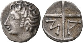 GAUL. Massalia. Circa 125-75 BC. Obol (Silver, 9 mm, 0.44 g). Bare head of Apollo to left. Rev. M-A within wheel of four spokes. Maurel 406 ff. Nicely...