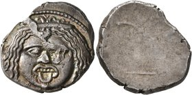 ETRURIA. Populonia. 3rd century BC. 20 Asses (Silver, 22 mm, 8.55 g). Diademed facing head of Metus with protruding tongue; below, [X:X] (mark of valu...