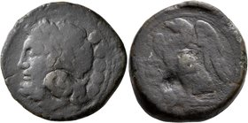 APULIA. Venusia. Circa 210-200 BC. Quincunx (Bronze, 29 mm, 19.54 g, 2 h). Laureate head of Jupiter to left; behind, five pellets (mark of value). Rev...