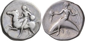 CALABRIA. Tarentum. Circa 400-390 BC. Didrachm or Nomos (Silver, 21 mm, 7.52 g, 9 h). Nude warrior on horseback left, holding bridles in his right han...
