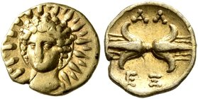 CALABRIA. Tarentum. Alexander the Molossian. King of Epeiros, circa 350-331/0 BC. Hemilitron or Twelfth Stater (Gold, 8 mm, 0.61 g, 9 h). Radiate head...