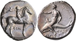 CALABRIA. Tarentum. Circa 330-325 BC. Didrachm or Nomos (Silver, 22 mm, 7.92 g, 4 h), Sim..., magistrate. Nude youth riding horse walking to right, ra...
