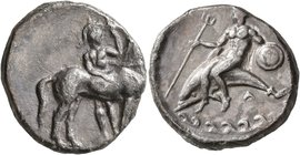 CALABRIA. Tarentum. Circa 344-340 BC. Didrachm or Nomos (Silver, 21 mm, 7.69 g, 2 h). Warrior, helmeted and holding spear and shield, standing facing,...