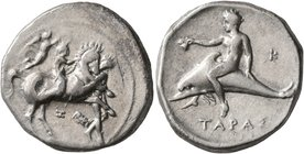 CALABRIA. Tarentum. Circa 340-335 BC. Didrachm or Nomos (Silver, 22 mm, 7.75 g, 1 h). Nude youth riding horse walking to right; before, nude youth res...