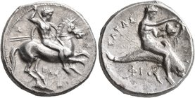CALABRIA. Tarentum. Circa 333-331/0 BC. Didrachm or Nomos (Silver, 22 mm, 8.05 g, 1 h), Kal... and Phi..., magistrates. Ւ - Λ / KAΛ / A Nude rider on ...