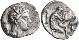 CALABRIA. Tarentum. Circa 380-325 BC. Diobol (Silver, 12 mm, 1.12 g, 5 h). Head of Athena to right, wearing Corinthian helmet adorned with Skylla hurl...