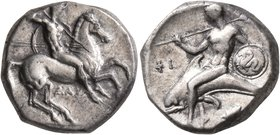 CALABRIA. Tarentum. Circa 302-290 BC. Didrachm or Nomos (Silver, 20 mm, 7.87 g, 7 h), Dai... and Phi..., magistrates. Nude rider on horse galloping to...
