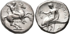 CALABRIA. Tarentum. Circa 315-302 BC. Didrachm or Nomos (Silver, 21 mm, 7.89 g, 9 h), Sa..., magistrate. Nude rider on horse galloping to right, stabb...