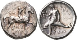 CALABRIA. Tarentum. Circa 302-280 BC. Didrachm or Nomos (Silver, 21 mm, 8.00 g, 12 h), Sa..., Arethon and Cas..., magistrates. ΣA - APE/ΘΩN Nude youth...