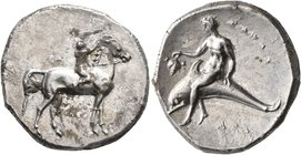 CALABRIA. Tarentum. Circa 302-280 BC. Didrachm or Nomos (Silver, 23 mm, 8.00 g, 7 h), Sa..., Philiarchos and Aga..., magistrates. ΣA - ΦΙΛΙ/APXOΣ Nude...