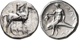 CALABRIA. Tarentum. Circa 302-280 BC. Didrachm or Nomos (Silver, 21 mm, 7.87 g, 2 h), Sa..., Philiarchos and Aga..., magistrates. ΣA - ΦΙΛΙ/APXOΣ Nude...
