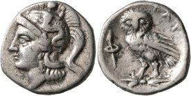 CALABRIA. Tarentum. Circa 302-280 BC. Drachm (Silver, 17 mm, 3.04 g, 12 h). Head of Athena to left, wearing crested Attic helmet adorned, on the bowl,...