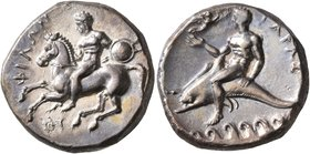 CALABRIA. Tarentum. Circa 280-272 BC. Didrachm or Nomos (Silver, 20 mm, 7.89 g, 7 h), Ey.. and Philon, magistrates. Nude warrior on horseback left, ho...
