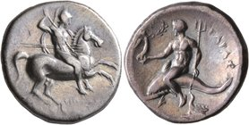 CALABRIA. Tarentum. Circa 280-272 BC. Didrachm or Nomos (Silver, 22 mm, 6.35 g, 4 h), Ey... and Phintylos, magistrates. Nude rider on horse galloping ...