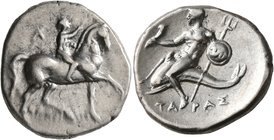 CALABRIA. Tarentum. Circa 280-272 BC. Didrachm or Nomos (Silver, 22 mm, 6.61 g, 10 h), Ar.. and Damylos, magistrates. Nude youth riding horse walking ...