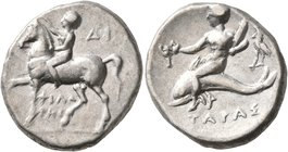 CALABRIA. Tarentum. Circa 272-240 BC. Didrachm or Nomos (Silver, 21 mm, 6.35 g, 1 h), Di... and Philotas, magistrates. Nude youth riding horse walking...