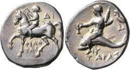 CALABRIA. Tarentum. Circa 272-240 BC. Didrachm or Nomos (Silver, 22 mm, 6.30 g, 11 h), Di... and Philotas, magistrates. Nude youth riding horse walkin...
