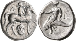 CALABRIA. Tarentum. Circa 272-240 BC. Didrachm or Nomos (Silver, 20 mm, 6.43 g, 12 h), Kynon, magistrate. Nude youth riding horse walking to right, ra...