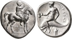 CALABRIA. Tarentum. Circa 272-240 BC. Didrachm or Nomos (Silver, 21 mm, 6.60 g, 7 h), Philiskos, magistrate. Youth riding horse walking to right, rais...