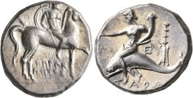 CALABRIA. Tarentum. Circa 272-240 BC. Didrachm or Nomos (Silver, 19 mm, 6.55 g, 9 h), Herakletos, magistrate. Nude rider on horse walking to right, ho...