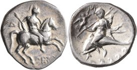 CALABRIA. Tarentum. Circa 272-240 BC. Didrachm or Nomos (Silver, 21 mm, 6.46 g, 4 h), Di... and Apollonios, magistrates. Nude rider on horse galloping...