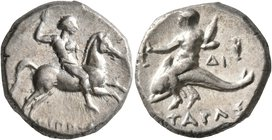 CALABRIA. Tarentum. Circa 272-240 BC. Didrachm or Nomos (Silver, 20 mm, 6.45 g, 11 h), Hippoda and Di..., magistrates. Nude rider on horse galloping t...