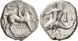CALABRIA. Tarentum. Circa 272-240 BC. Didrachm or Nomos (Silver, 19 mm, 6.48 g, 12 h), Aristokrates and Pi..., magistrates. Nude youth riding horse wa...