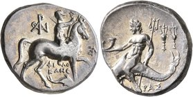 CALABRIA. Tarentum. Circa 240-228 BC. Didrachm or Nomos (Silver, 20 mm, 6.52 g, 4 h), Philokles, magistrate. Nude youth riding horse walking to right,...