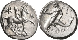 CALABRIA. Tarentum. Circa 240-228 BC. Didrachm or Nomos (Silver, 21 mm, 6.63 g, 8 h), Philokles, magistrate. Nude youth riding horse walking to right,...