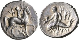 CALABRIA. Tarentum. Circa 240-228 BC. Didrachm or Nomos (Silver, 21 mm, 6.51 g, 10 h), Philokles, magistrate. Nude youth riding horse walking to right...