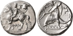 CALABRIA. Tarentum. Circa 240-228 BC. Didrachm or Nomos (Silver, 20 mm, 6.51 g, 8 h), Xenokrates, magistrate. Dioskouros, raising his right hand and h...