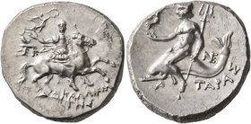 CALABRIA. Tarentum. Circa 240-228 BC. Didrachm or Nomos (Silver, 21 mm, 6.44 g, 1 h), Kallikrates, magistrate. Warrior on horseback to right, holding ...