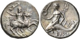 CALABRIA. Tarentum. Circa 240-228 BC. Didrachm or Nomos (Silver, 20 mm, 6.30 g, 7 h), Kallikrates, magistrate. Warrior on horseback to right, holding ...