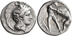 LUCANIA. Herakleia. Circa 390-340 BC. Didrachm or Nomos (Silver, 21 mm, 7.80 g, 9 h). Head of Athena to right, wearing Corinthian helmet adorned with ...