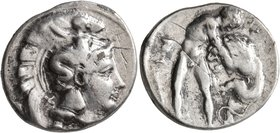 LUCANIA. Herakleia. Circa 390-340 BC. Didrachm or Nomos (Subaeratus, 22 mm, 6.93 g, 2 h). Head of Athena to right, wearing Corinthian helmet adorned w...