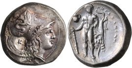 LUCANIA. Herakleia. Circa 330/25-281 BC. Didrachm or Nomos (Silver, 22 mm, 7.86 g, 10 h). ՒHPAKΛEIΩN Head of Athena to right, wearing Corinthian helme...