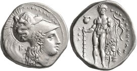 LUCANIA. Herakleia. Circa 330/25-281 BC. Didrachm or Nomos (Silver, 21 mm, 7.91 g, 4 h). ՒHPAKΛEIΩN Head of Athena to right, wearing Corinthian helmet...