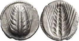 LUCANIA. Metapontion. Circa 540-510 BC. Nomos (Silver, 28 mm, 7.49 g, 12 h). MET Ear of barley with eight grains; around, border of dots. Rev. Ear of ...