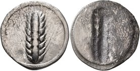 LUCANIA. Metapontion. Circa 540-510 BC. Nomos (Silver, 28 mm, 6.93 g, 12 h). MET Ear of barley with eight grains; around, border of dots. Rev. Ear of ...