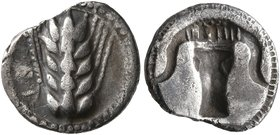 LUCANIA. Metapontion. Circa 470-440 BC. Diobol (Silver, 11 mm, 0.89 g, 6 h). MET Ear of barley with five grains. Rev. Incuse boukranion. HN Italy 1487...